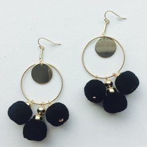 Black Pompon Earrings